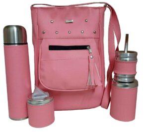Cartera matera rosado con azucarera yerbera y mate