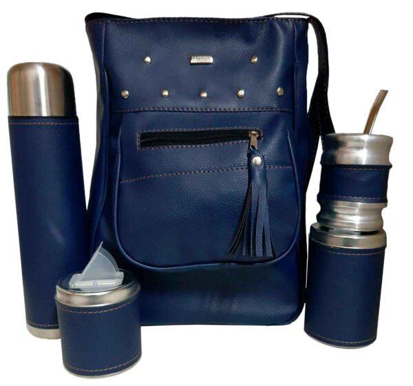 Cartera matera Azul marino con mate, yerbera, azucarera y bombilla