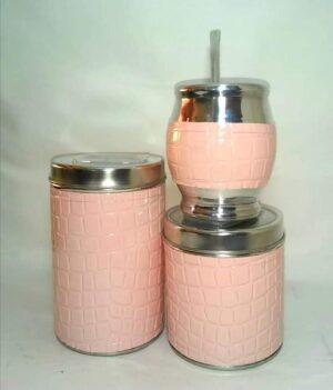 Set de mate x 3 color croco rosa