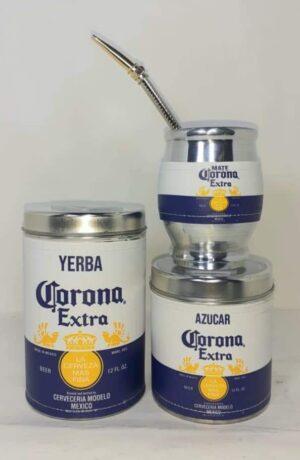 Set de mate x 3 diseño de Cerveza Corona