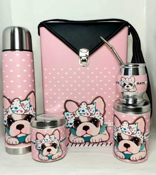 Set matero de perrito rosado con laso