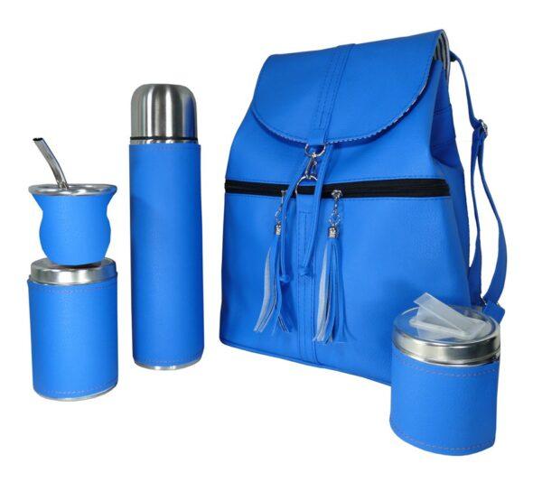 Set de mate con mochila color azul estilo Aylen