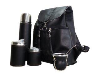Set de mate con mochila color negro estilo Aylen