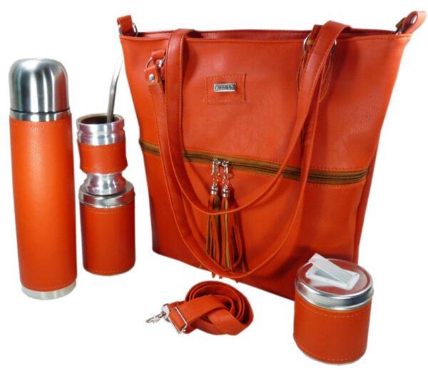 Set matero con cartera color naranja