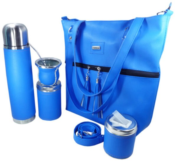 Set matero con cartera color azul frances