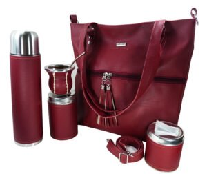 Set matero con cartera color bordo