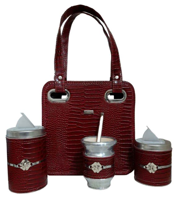 Mini Set matero color croco bordo