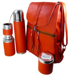 Set de mate con mochila color naranja estilo Aylen