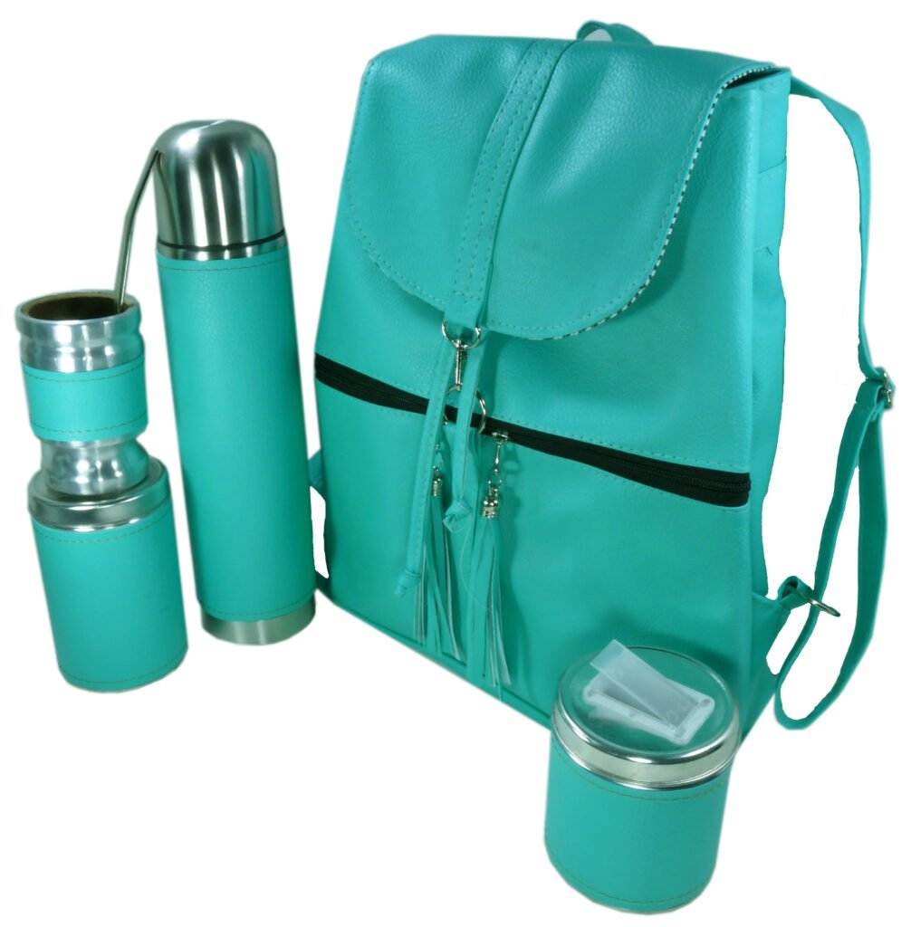 Set de mate con mochila color turquesa estilo Aylen