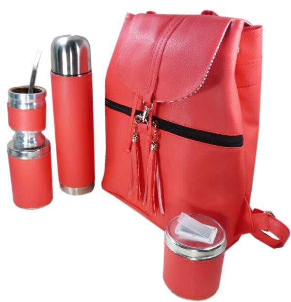 Set de mate con mochila color coral estilo Aylen