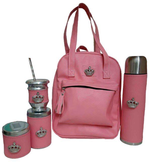 Set matero con coronas color rosa estilo Luli