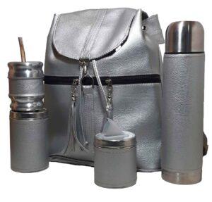 Set de mate con mochila color plateado estilo Aylen