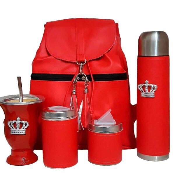 Set de mate con mochila color rojo con mate corona estilo Aylen
