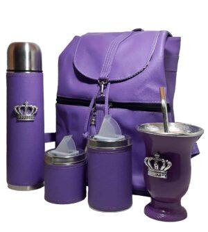 Set de mate con mochila color lila con mate corona estilo Aylen